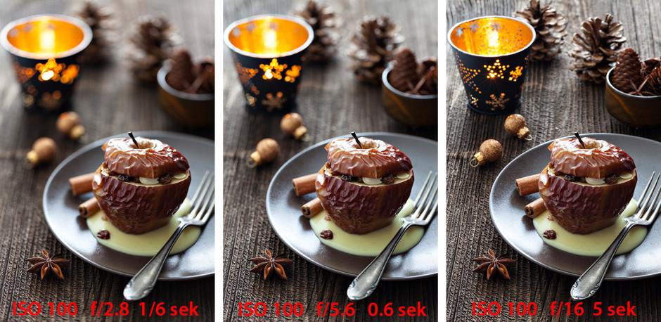 Food-Fotografie Schärfentiefe mit unterschiedlicher Blende