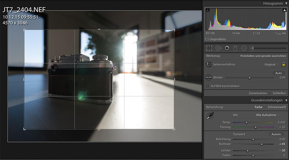 Lightroom: Ansicht des Bildes mit Alt-Taste und Crop-Werkzeug