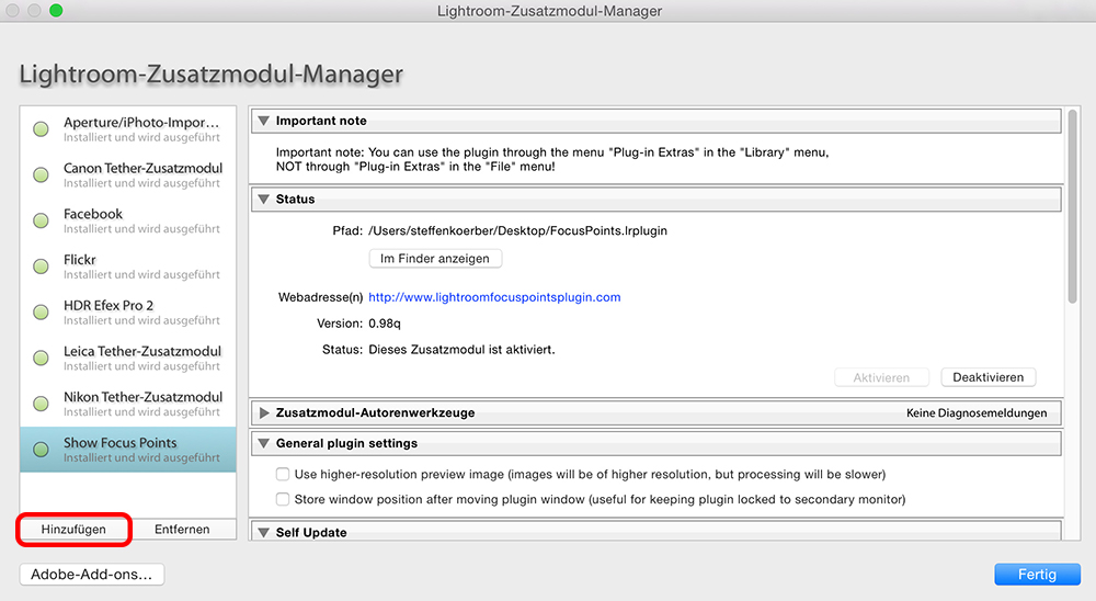 Lightroom-Zusatzmodul-Manager mit installiertem Plug-in Show Focus Points