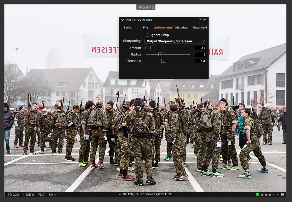 Im neuen Proof-Modus prüfen Sie Kompressionsartefakte, Farben und die Wahl der Ausgabeschärfe live in der gewünschten Ausgabegröße.