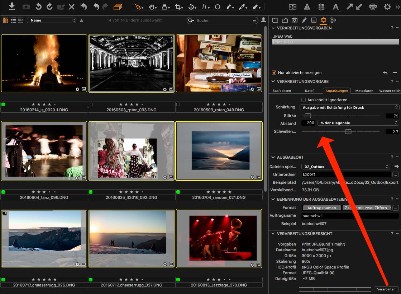 Die Werte für Ausgabeschärfung in Ihrer Verarbeitungsvorgabe gelten für alle Bilder, die Sie gleichzeitig ausgeben möchten