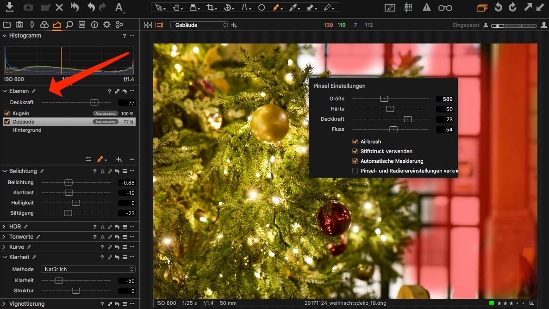 Capture One Pro 11 bietet Ebenenfunktionen überall in der Benutzeroberfläche